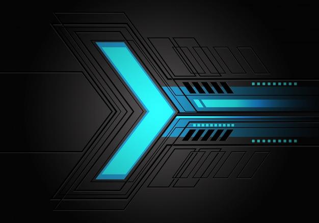 Blauw licht neon pijl richting donker grijs circuit achtergrond.