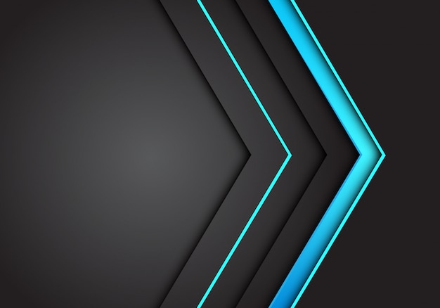 Blauw licht neon pijl richting op donker grijze achtergrond.