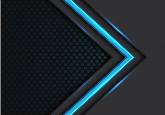 Blauw licht pijl richting donkere cirkel mesh achtergrond.