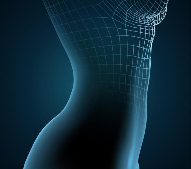 Blauw lichtgevend silhouet van een vrouwelijk lichaam op een donkere achtergrond