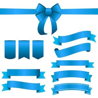 Blauw lint en boog set. vectorillustratie eps10
