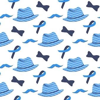 Blauw lint, snor, hoed naadloos patroon. prostaatkanker awareness month concept.