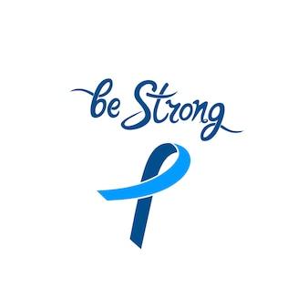 Blauw lintje. wees sterk motiverende handgetekende inscriptie. nationale prostaatkanker awareness maand concept.