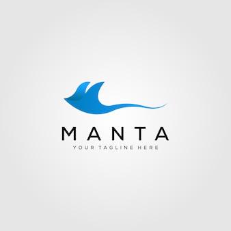 Blauw manta ray logo