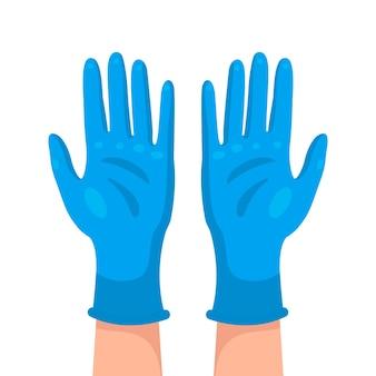 Blauw medisch handschoenenontwerp
