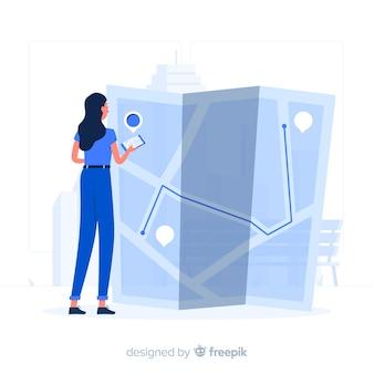 Blauw meisje dat een kaart vlakke stijl bekijkt