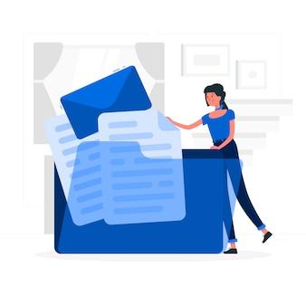 Blauw meisje met letters vlakke stijl