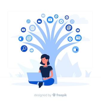 Blauw meisje onder een boom vlakke stijl