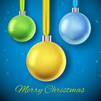 Blauw met drie hangende kleurrijke kerstballen vlakke afbeelding