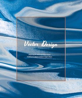 Blauw met folie vloeibare inkt schilderij sjabloon banner.