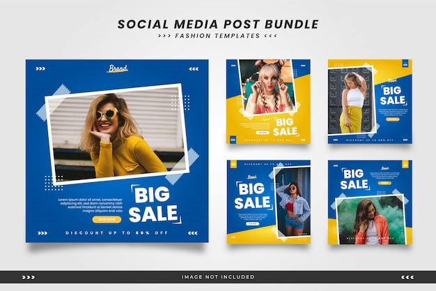 Blauw met gele minimalistische mode social media postsjablonen met tape