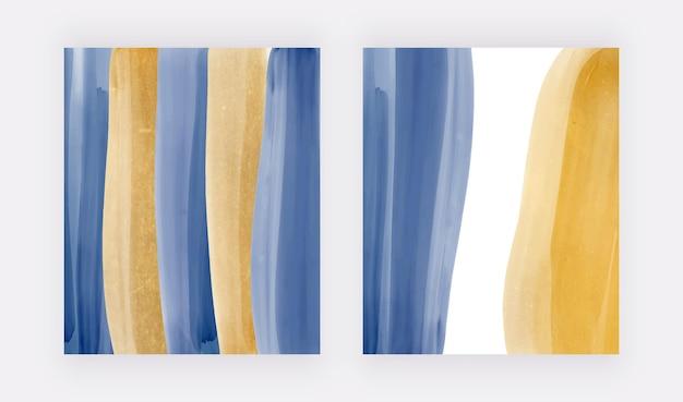 Blauw met gouden aquarelachtergronden voor uitnodigingen voor kaartenbanners