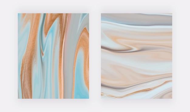 Blauw met neutrale vloeibare inkt abstract schilderij