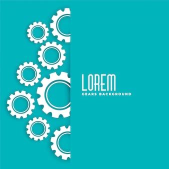 Blauw met wit versnellingen symbool ontwerp