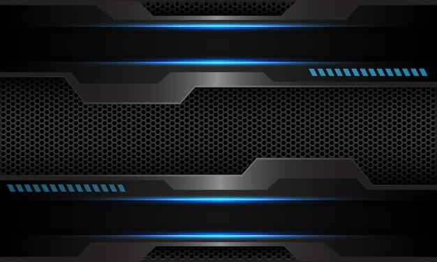 Blauw metallic circuit donkergrijs zeshoek mesh futuristische technische achtergrond.