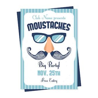 Blauw movember poster ontwerp