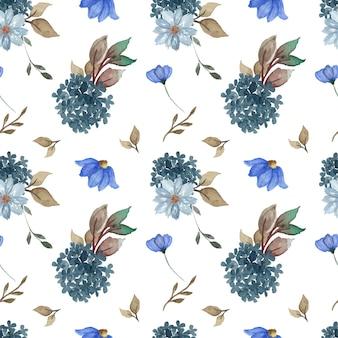 Blauw naadloos bloemenpatroon