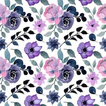 Blauw naadloos patroon met bloemenwaterverf