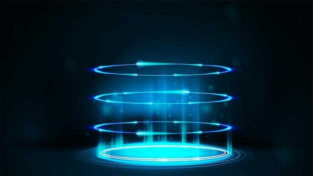 Blauw neon digitaal portaal in cilindrische vorm met deeltjes en glanzende ringen in donkere kamer