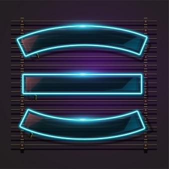 Blauw neon frame bord in de horizontale vorm