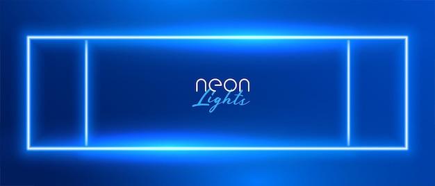 Blauw neon rechthoek frame achtergrondontwerp