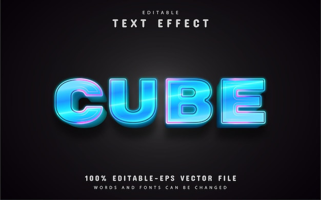 Blauw neon teksteffect bewerkbaar Premium Vector