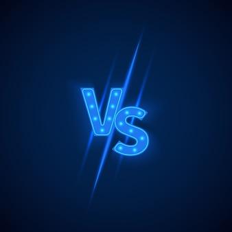 Blauw neon versus logo versus letters voor sport en vechtwedstrijd.