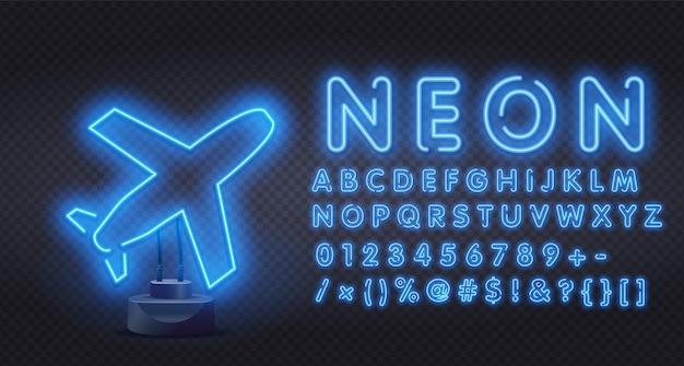 Blauw neon vliegtuig.