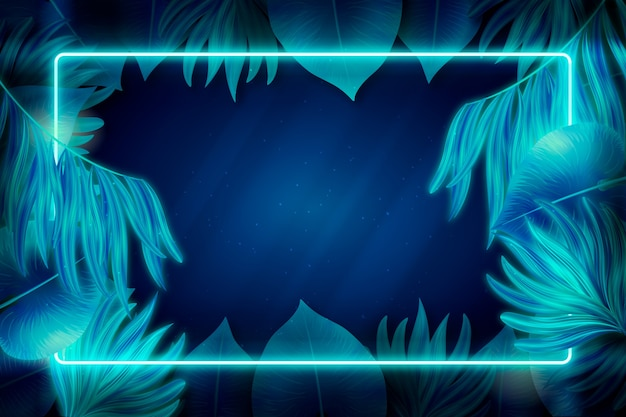 Blauw neonframe met bladeren