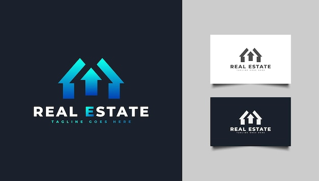 Blauw onroerend goed-logo met pijlsymbool. ontwerpsjabloon voor bouw, architectuur of gebouw logo