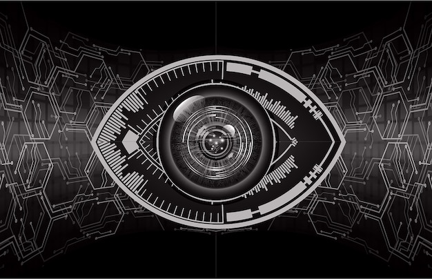 Blauw oog cyber circuit toekomst technologieconcept