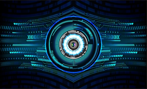 Blauw oog cyber circuit toekomstige technologie concept achtergrond
