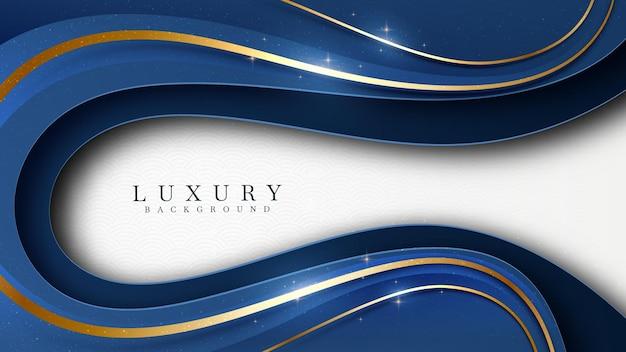 Blauw op witte tint met elegante lijn gouden elementen. realistische luxe achtergrond papier knippen stijl 3d modern concept. ruimte voor plaktekst. vectorillustratie voor ontwerp.