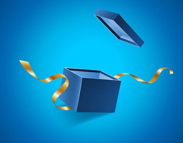 Blauw opende 3d realistische geschenkdoos met gouden linten vliegen