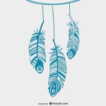 Blauw opknoping veren
