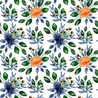 Blauw oranje bloemen aquarel naadloos patroon