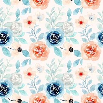 Blauw oranje bloemen aquarel naadloze patroon