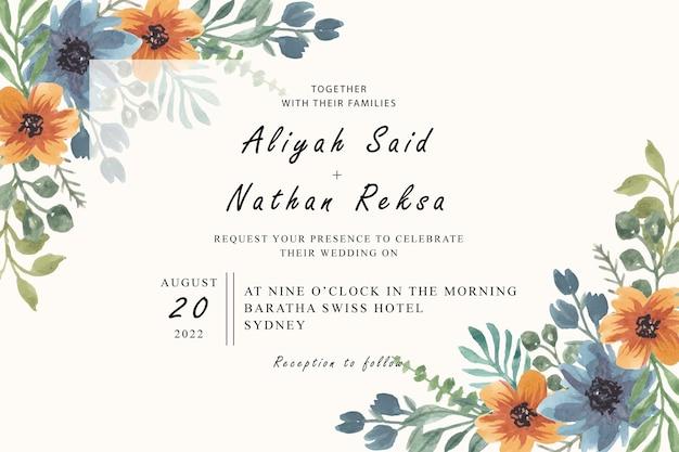 Blauw oranje bloemen bruiloft uitnodigingskaart