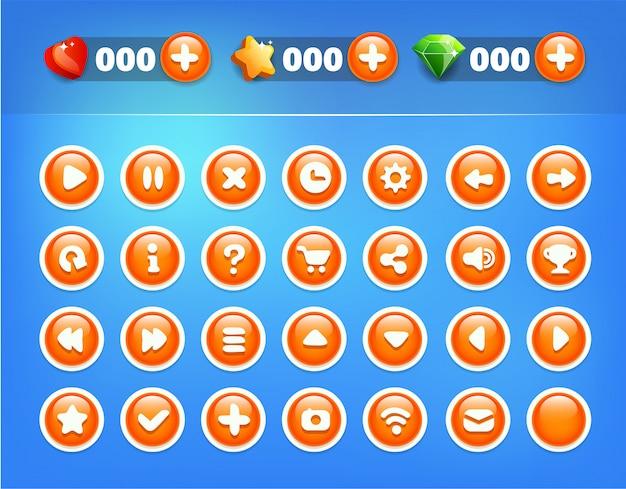 Blauw oranje knoppen game ui-kit
