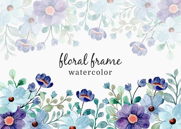 Blauw paars bloemenkader met waterverf