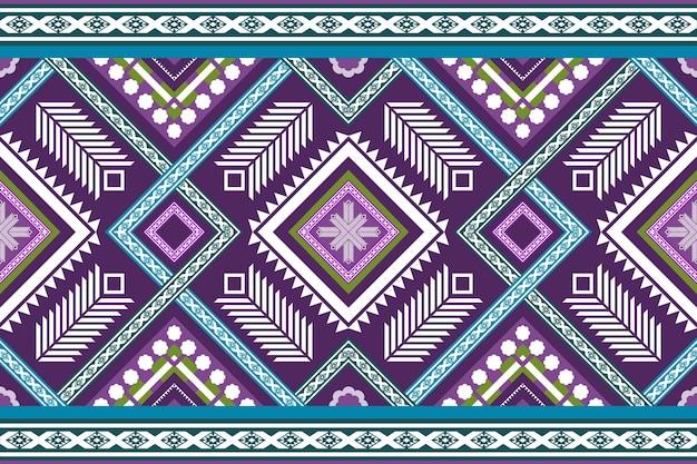 Blauw paars etnische geometrische oosterse naadloze traditionele patroon. ontwerp voor achtergrond, tapijt, behangachtergrond, kleding, inwikkeling, batik, stof. borduurstijl. vector.
