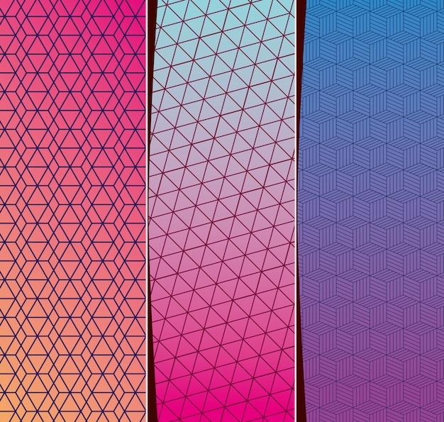 Blauw paars roze verloop en patroon achtergronden frames instellen, cover ontwerp.