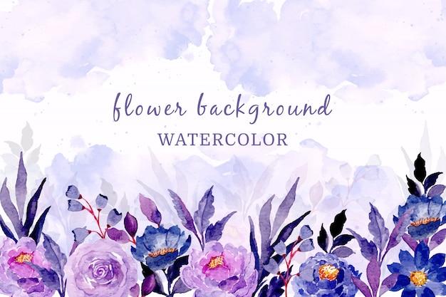 Blauw paarse bloemen achtergrond met aquarel