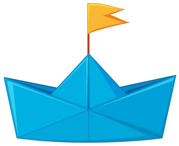 Blauw papier boot met gele vlag