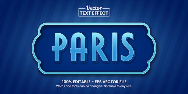 Blauw parijs, bewerkbaar teksteffect