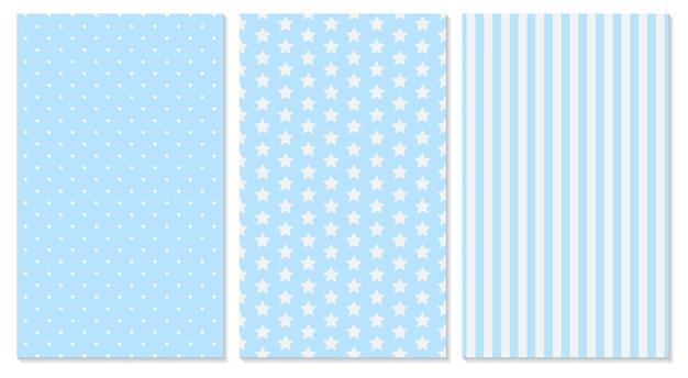 Blauw patroon. baby achtergrond. polka dot, strepen, sterrenpatroon.