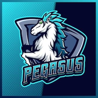 Blauw pegasus paard mascotte esport logo ontwerp