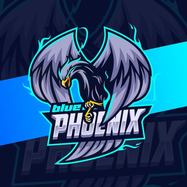 Blauw phoenix mascotte esport logo ontwerp