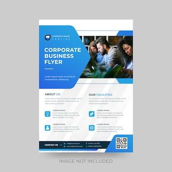 Blauw poligon modern corporate flyer vector design