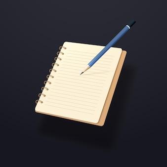 Blauw potlood en gele notitieblok geïsoleerd op donkere achtergrond